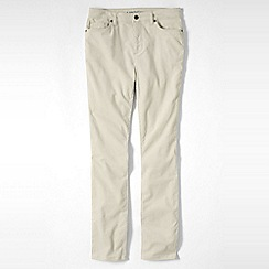 Lands' End - Cream women's mid rise cord slim leg trousers