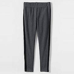 Lands' End - Grey little girls' side stripe ankle leggings