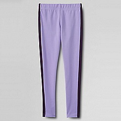 Lands' End - Purple little girls' side stripe ankle leggings