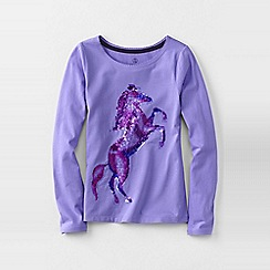 Lands' End - Purple girls' long sleeve embellished graphic tee