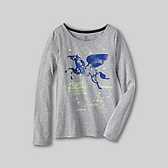 Lands' End - Grey little girls' glow-in-the-dark graphic tee