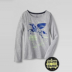 Lands' End - Grey girls' glow-in-the-dark graphic tee