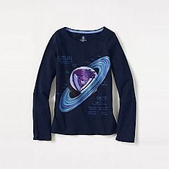 Lands' End - Blue little girls' long sleeve space graphic tee