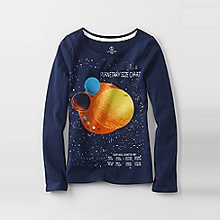Lands' End - Blue girls' long sleeve space graphic tee