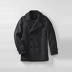 Lands' End - Grey men's regular herringbone wool pea coat