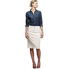 Lands' End - Beige women's regular 5-pocket flax denim skirt