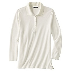 Lands' End - Cream women's regular cotton modal pique polo