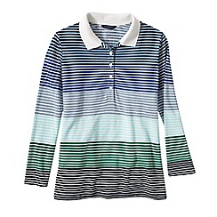 Lands' End - Blue women's regular three quarter sleeve multi stripe pique polo