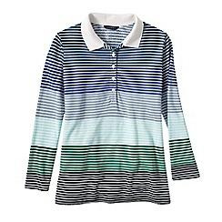 Lands' End - Blue women's petite three quarter sleeve multi stripe pique polo