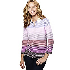 Lands' End - Pink women's petite three quarter sleeve multi stripe pique polo