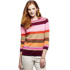 Lands' End - Orange fine gauge supima reg stripe crew neck