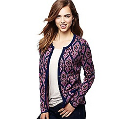 Lands' End - Purple women's fine gauge supima jacquard cardigan