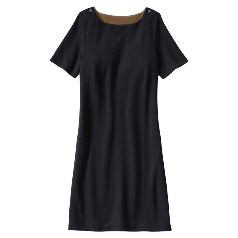 Lands End Black jacquard straight shift dress