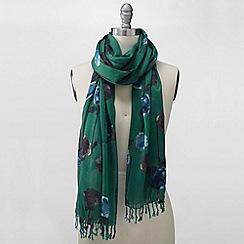 Lands' End - Green emerald floral scarf