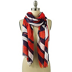 Lands' End - Orange oversized abstract colourblock scarf