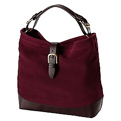 Lands' End - Red women's suede & leather draped shoulder bag