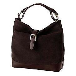 Lands' End - Brown suede & leather draped shoulder bag