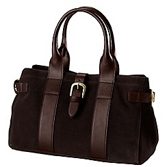 Lands' End - Brown women's buckled suede handbag