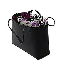 Lands' End - Black women's reversible print tote bag with zip-top pouch