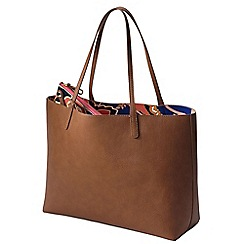 Lands' End - Brown women's reversible print tote bag with zip-top pouch