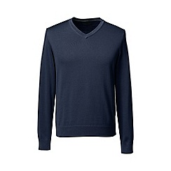Lands' End - Blue fine gauge v-neck sweater