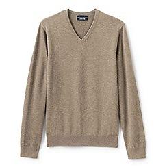Lands' End - Beige fine gauge v-neck sweater