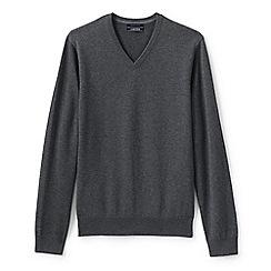 Lands' End - Grey tall fine gauge v-neck sweater