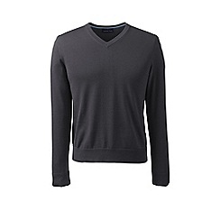 Lands' End - Grey fine gauge v-neck sweater