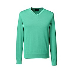 Lands' End - Green tall fine gauge v-neck sweater