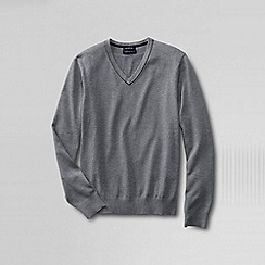 Lands' End - Grey tall  fine gauge tipped v-neck sweater