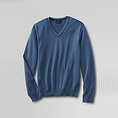 Lands' End - Blue tall  fine gauge tipped v-neck sweater