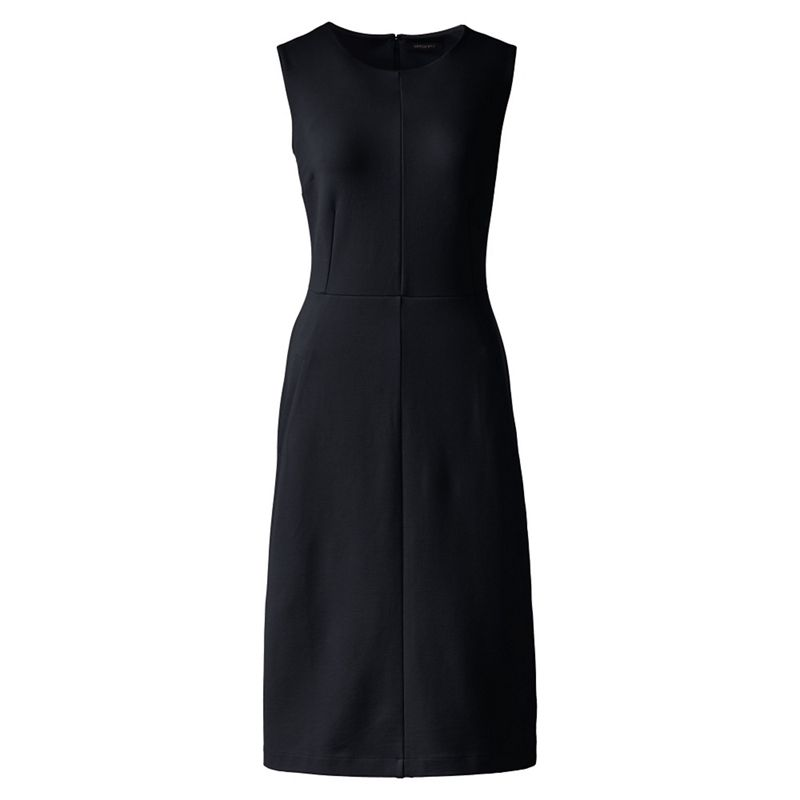 Lands End Black plus welt pocket plain shift dress