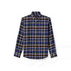 Lands' End - Brown tailored fit patterned flannel shirt