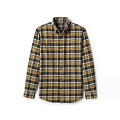 Lands' End - Yellow tailored fit patterned flannel shirt