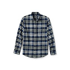 Lands' End - Blue tailored fit patterned flannel shirt