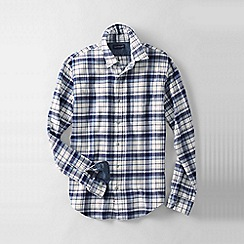 Lands' End - Blue men's tailored fit patterned flannel shirt