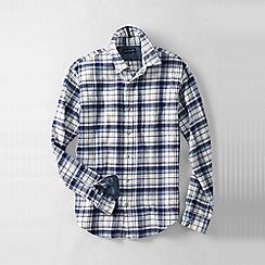 Lands' End - Blue men's tailored fit patterned flannel shirt