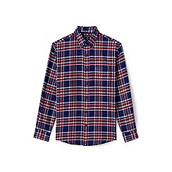 Lands' End - Red tailored fit patterned flannel shirt