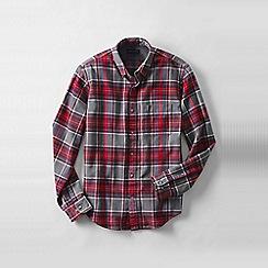 Lands' End - Grey men's tailored fit patterned flannel shirt