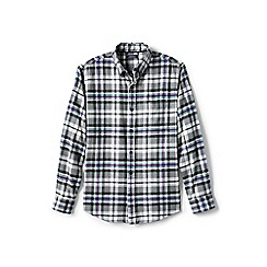 Lands' End - Grey tailored fit patterned flannel shirt