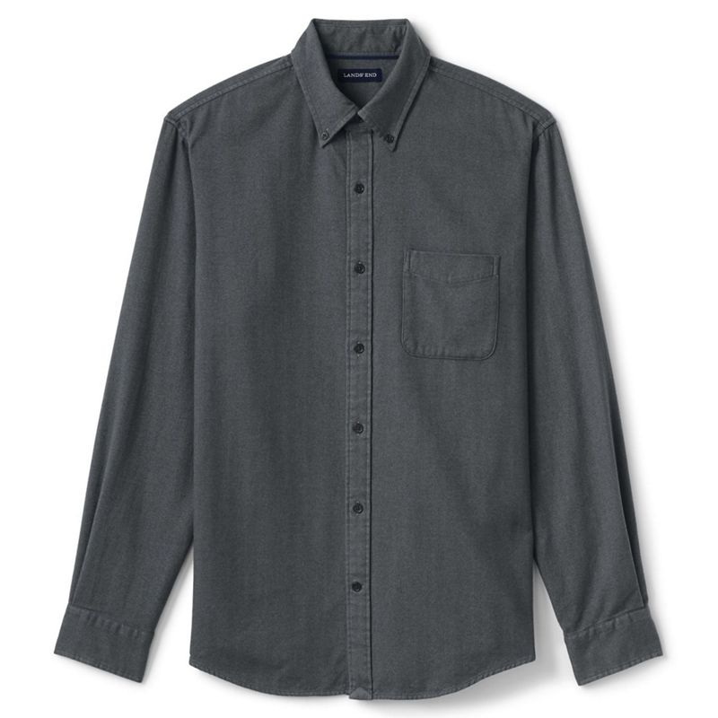 Lands End Grey tailored fit flannel shirt