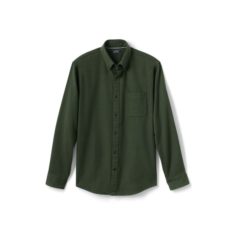 Lands End Green tailored fit flannel shirt