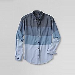 Lands' End - Blue men's tailored fit colourblock flannel shirt