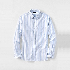 Lands' End - White men's tailored fit patterned sail rigger oxford shirt