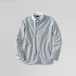 Lands' End - White men's tailored fit contrast collar sail rigger shirt