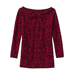 Lands' End - Red flocked print ponte keyhole top