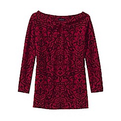 Lands' End - Red women's flocked print ponte keyhole top