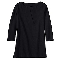 Lands' End - Black women's three quarter sleeve split neck tunic