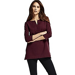 Lands' End - Purple women's three quarter sleeve split neck tunic