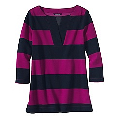 Lands' End - Purple women's three quarter sleeve split neck stripe tunic